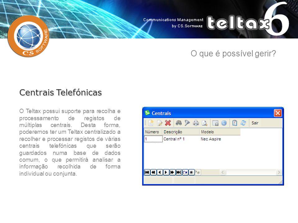 O Teltax possui suporte para recolha e processamento de registos de múltiplas centrais. Desta forma, poderemos ter um Teltax centralizado a recolher e