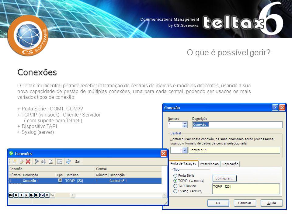 O Teltax multicentral permite receber informação de centrais de marcas e modelos diferentes, usando a sua nova capacidade de gestão de múltiplas conex