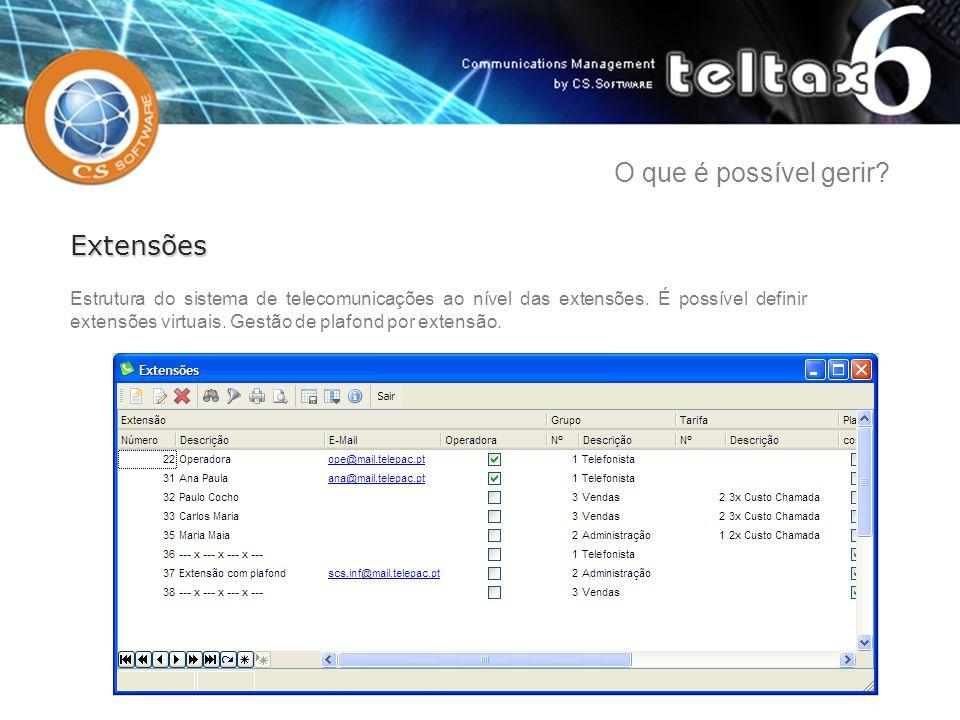 Estrutura do sistema de telecomunicações ao nível das extensões. É possível definir extensões virtuais. Gestão de plafond por extensão. Extensões O qu