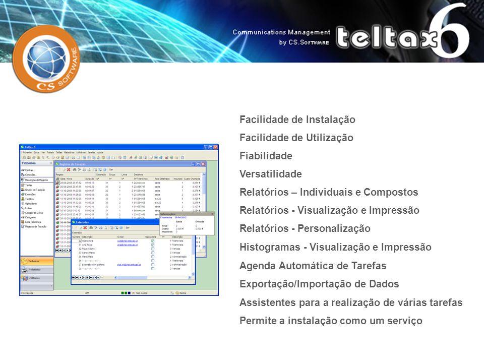 Facilidade de Instalação Facilidade de Utilização Fiabilidade Versatilidade Relatórios - Visualização e Impressão Relatórios - Personalização Histogra