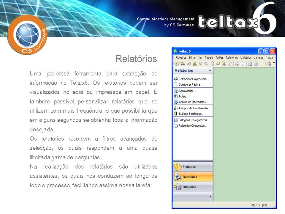 Uma poderosa ferramenta para extracção de informação no Teltax6. Os relatórios podem ser visualizados no ecrã ou impressos em papel. É também possível