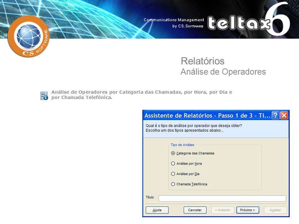 Análise de Operadores por Categoria das Chamadas, por Hora, por Dia e por Chamada Telefónica. Relatórios Análise de Operadores