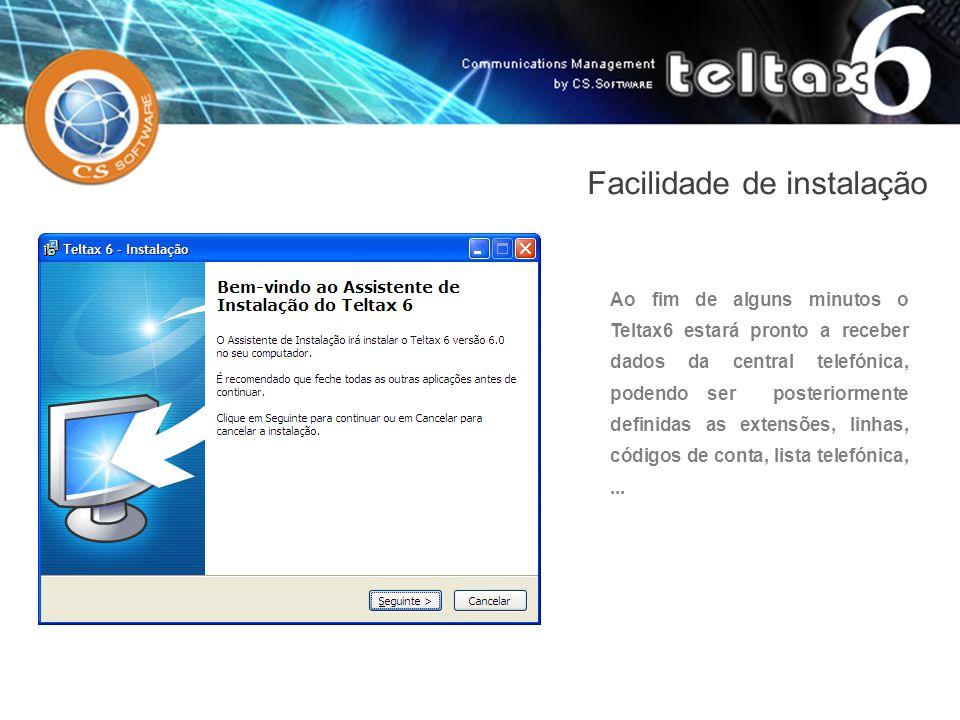 Ao fim de alguns minutos o Teltax6 estará pronto a receber dados da central telefónica, podendo ser posteriormente definidas as extensões, linhas, cód
