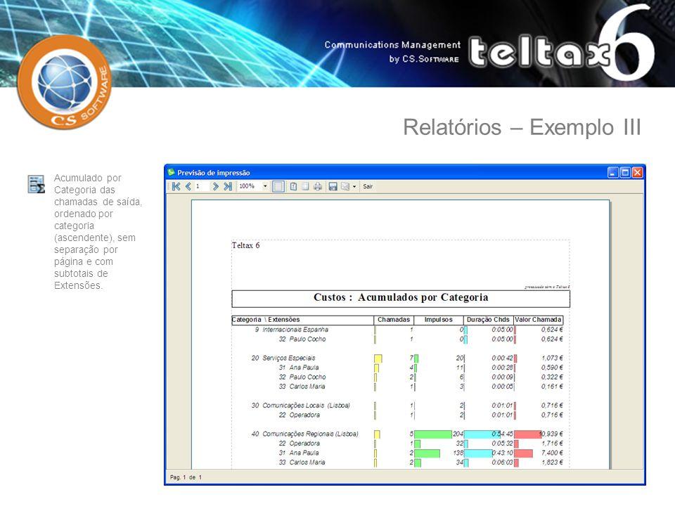 Acumulado por Categoria das chamadas de saída, ordenado por categoria (ascendente), sem separação por página e com subtotais de Extensões. Relatórios