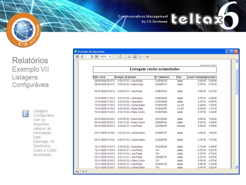 Listagem Configurável com os seguintes campos de informação: Data; Extensão; Nº Telefónico; Custo e Custo Acumulado. Relatórios Exemplo VII Listagens