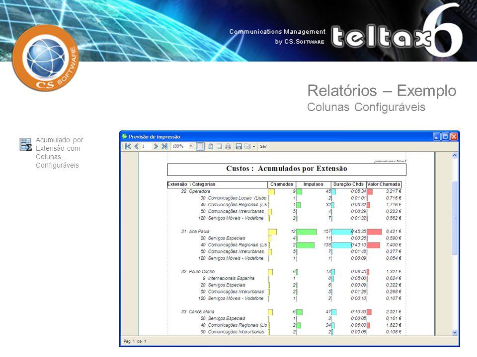 Acumulado por Extensão com Colunas Configuráveis Relatórios – Exemplo Colunas Configuráveis