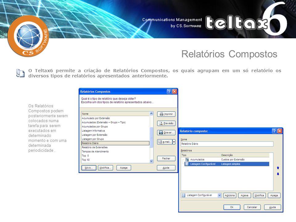 O Teltax6 permite a criação de Relatórios Compostos, os quais agrupam em um só relatório os diversos tipos de relatórios apresentados anteriormente. O