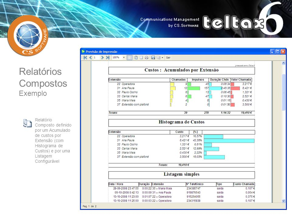 Relatório Composto definido por um Acumulado de custos por Extensão (com Histograma de Custos) e por uma Listagem Configurável Relatórios Compostos Ex