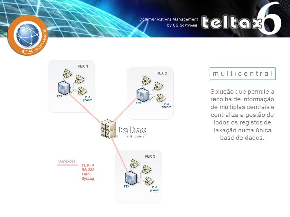 m u l t i c e n t r a l Solução que permite a recolha de informação de múltiplas centrais e centraliza a gestão de todos os registos de taxação numa ú