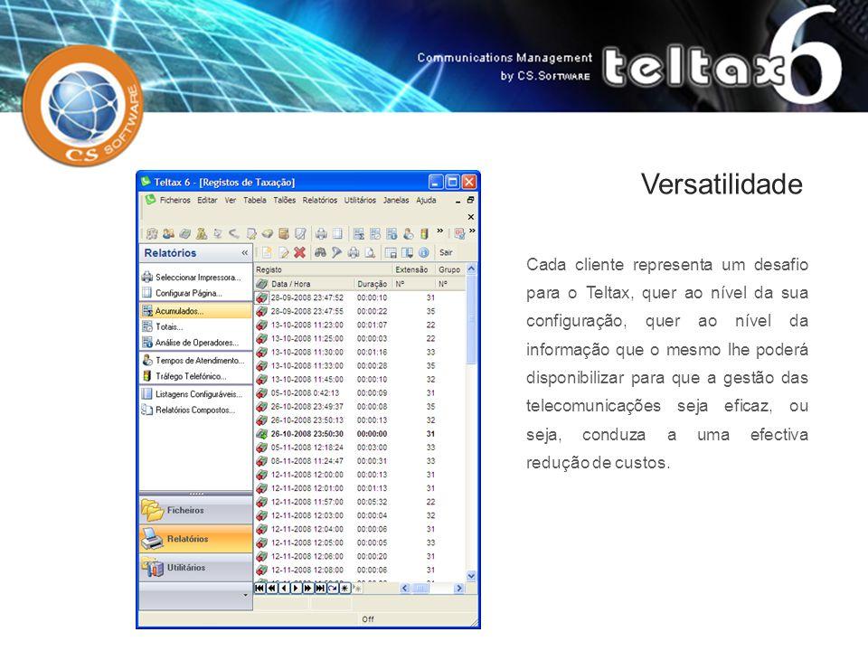 Versatilidade Cada cliente representa um desafio para o Teltax, quer ao nível da sua configuração, quer ao nível da informação que o mesmo lhe poderá