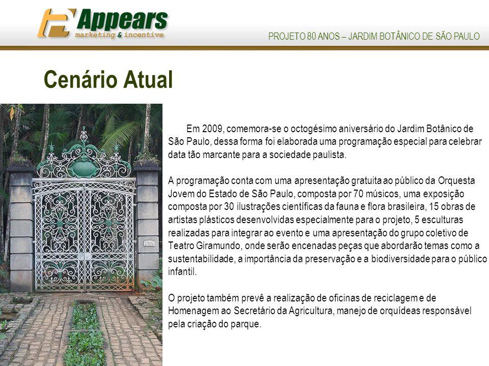 PROJETO 80 ANOS – JARDIM BOTÂNICO DE SÃO PAULO Cenário Atual Em 2009, comemora-se o octogésimo aniversário do Jardim Botânico de São Paulo, dessa forma foi elaborada uma programação especial para celebrar data tão marcante para a sociedade paulista.