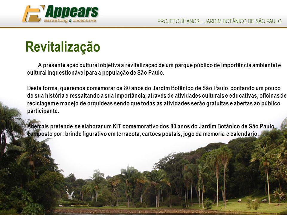 PROJETO 80 ANOS – JARDIM BOTÂNICO DE SÃO PAULO Revitalização A presente ação cultural objetiva a revitalização de um parque público de importância ambiental e cultural inquestionável para a população de São Paulo.