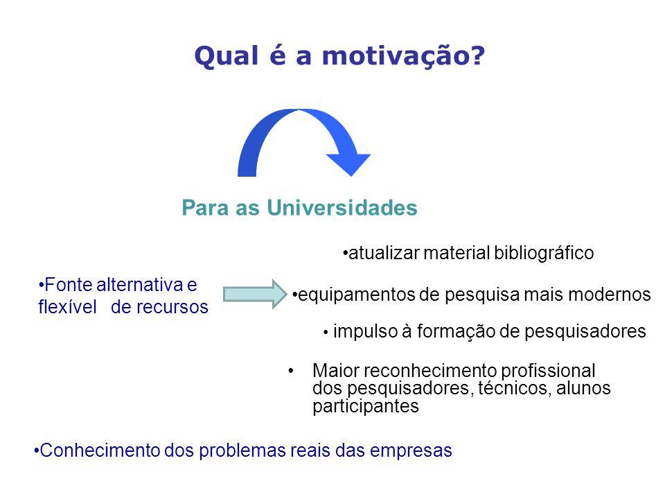 Maior reconhecimento profissional dos pesquisadores, técnicos, alunos participantes Qual é a motivação.