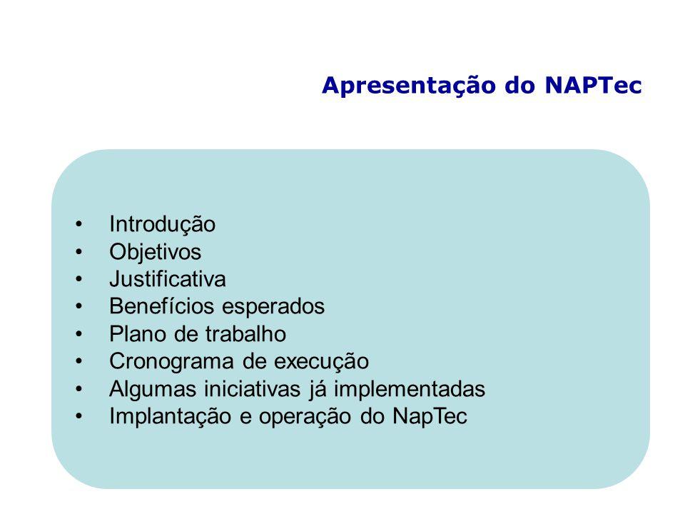 Apresentação do NAPTec Introdução Objetivos Justificativa Benefícios esperados Plano de trabalho Cronograma de execução Algumas iniciativas já implementadas Implantação e operação do NapTec