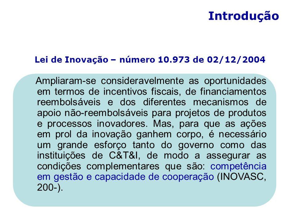 Lei de Inovação – número 10.973 de 02/12/2004 Introdução Ampliaram-se consideravelmente as oportunidades em termos de incentivos fiscais, de financiamentos reembolsáveis e dos diferentes mecanismos de apoio não-reembolsáveis para projetos de produtos e processos inovadores.