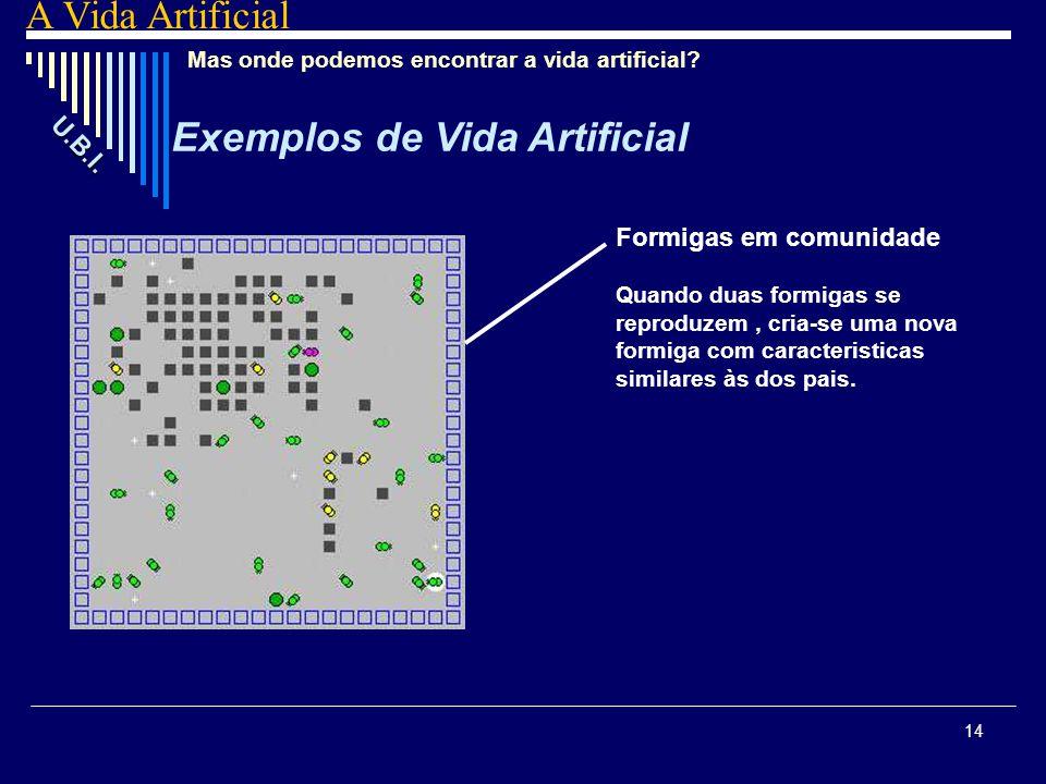14 Mas onde podemos encontrar a vida artificial? Exemplos de Vida Artificial U. B. I. A Vida Artificial Formigas em comunidade Quando duas formigas se