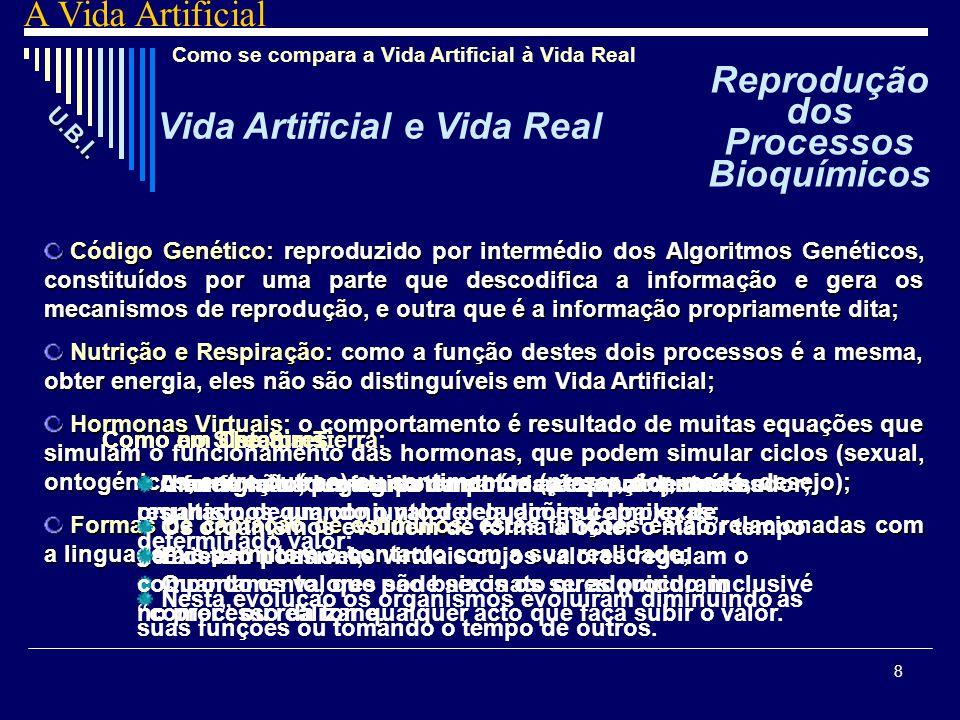 8 Como se compara a Vida Artificial à Vida Real Código Genético: Genético: reproduzido por intermédio dos Algoritmos Genéticos, constituídos por uma p