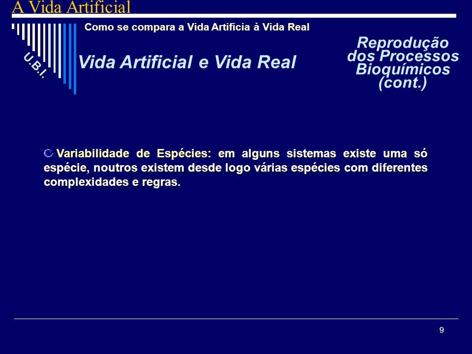 9 Como se compara a Vida Artificia à Vida Real Vida Artificial e Vida Real U. B. I. A Vida Artificial V VV Variabilidade de Espécies: em alguns sistem