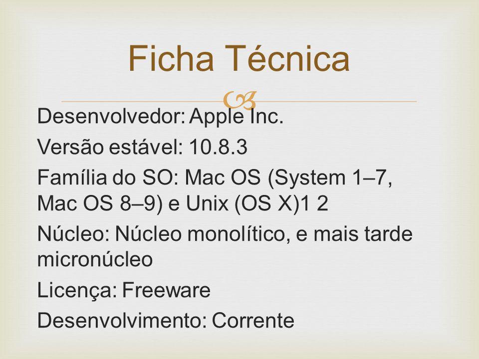  Desenvolvedor: Apple Inc. Versão estável: 10.8.3 Família do SO: Mac OS (System 1–7, Mac OS 8–9) e Unix (OS X)1 2 Núcleo: Núcleo monolítico, e mais t
