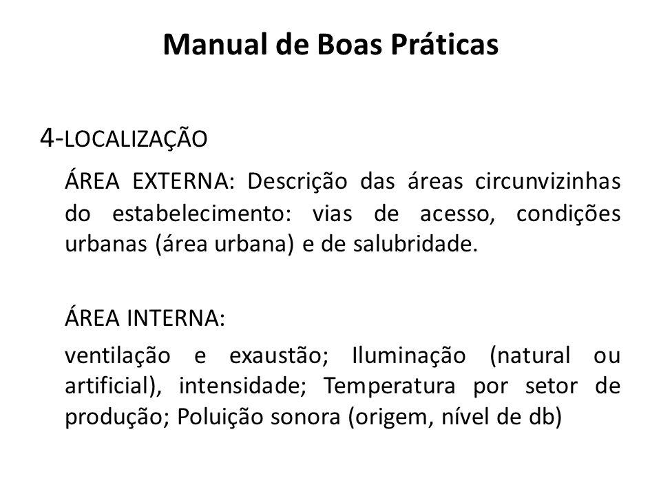 Manual de Boas Práticas 4- LOCALIZAÇÃO ÁREA EXTERNA: Descrição das áreas circunvizinhas do estabelecimento: vias de acesso, condições urbanas (área ur