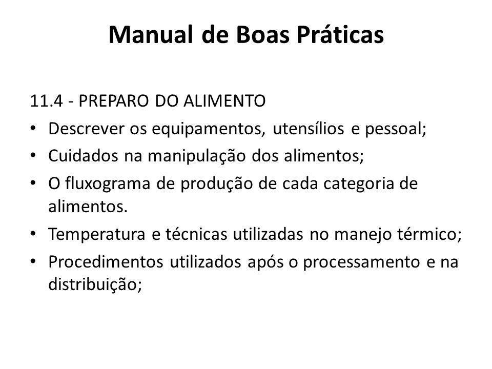 Manual de Boas Práticas 11.4 - PREPARO DO ALIMENTO Descrever os equipamentos, utensílios e pessoal; Cuidados na manipulação dos alimentos; O fluxogram