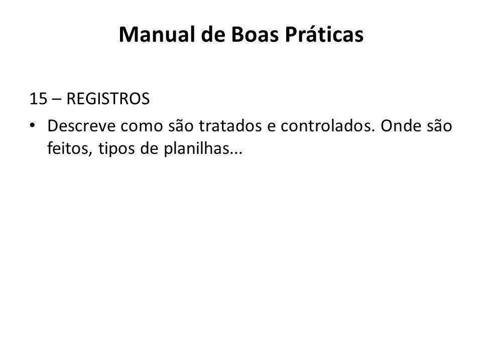 15 – REGISTROS Descreve como são tratados e controlados. Onde são feitos, tipos de planilhas... Manual de Boas Práticas
