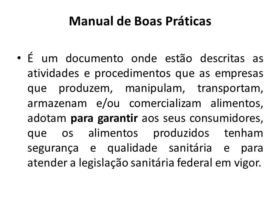 Manual de Boas Práticas É um documento onde estão descritas as atividades e procedimentos que as empresas que produzem, manipulam, transportam, armaze