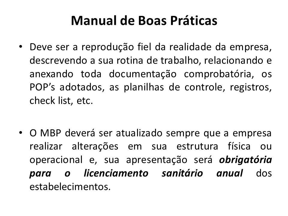 Manual de Boas Práticas Deve ser a reprodução fiel da realidade da empresa, descrevendo a sua rotina de trabalho, relacionando e anexando toda documen