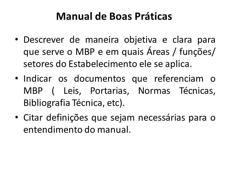 Manual de Boas Práticas Descrever de maneira objetiva e clara para que serve o MBP e em quais Áreas / funções/ setores do Estabelecimento ele se aplic