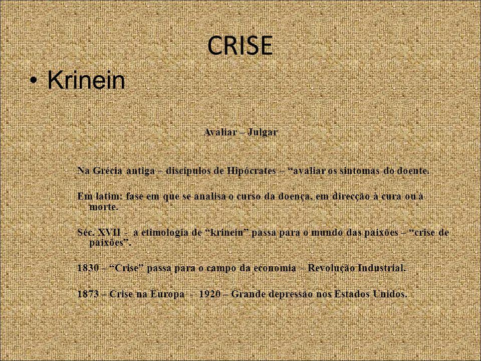 """CRISE Krinein Avaliar – Julgar Na Grécia antiga – discípulos de Hipócrates – """"avaliar os sintomas do doente. Em latim: fase em que se analisa o curso"""