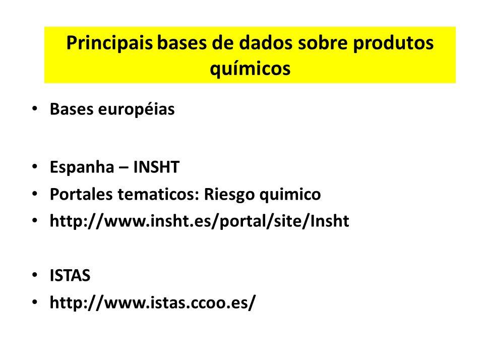 Principais bases de dados sobre produtos químicos Bases européias Espanha – INSHT Portales tematicos: Riesgo quimico http://www.insht.es/portal/site/Insht ISTAS http://www.istas.ccoo.es/