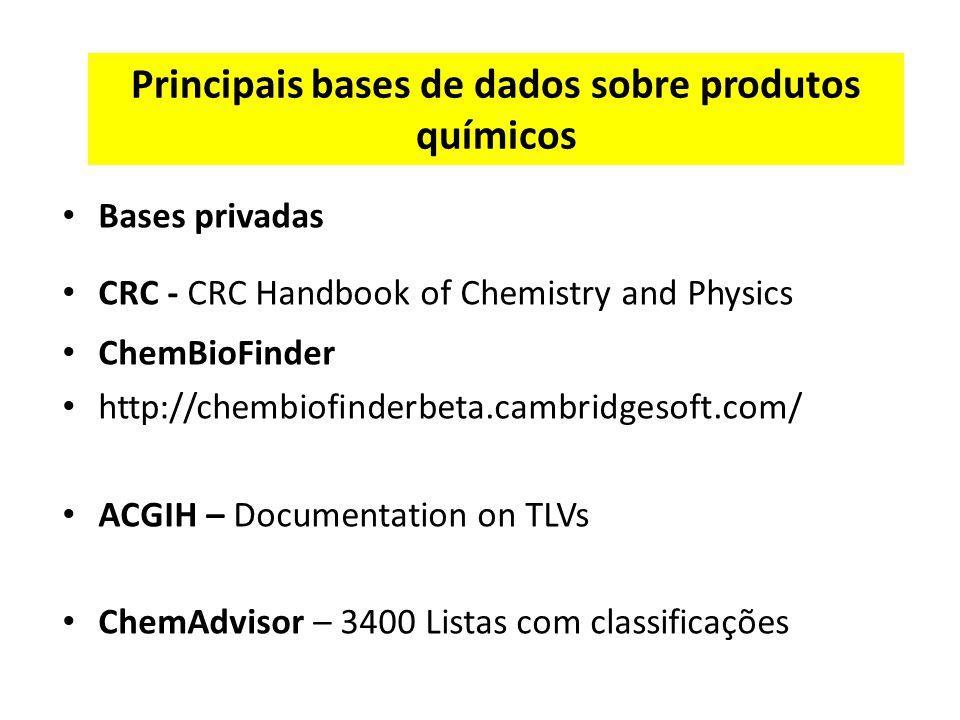 Principais bases de dados sobre produtos químicos Bases privadas CRC - CRC Handbook of Chemistry and Physics ChemBioFinder http://chembiofinderbeta.cambridgesoft.com/ ACGIH – Documentation on TLVs ChemAdvisor – 3400 Listas com classificações