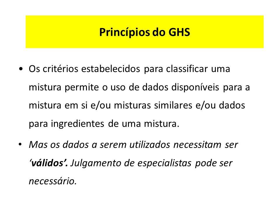 Princípios do GHS Os critérios estabelecidos para classificar uma mistura permite o uso de dados disponíveis para a mistura em si e/ou misturas similares e/ou dados para ingredientes de uma mistura.