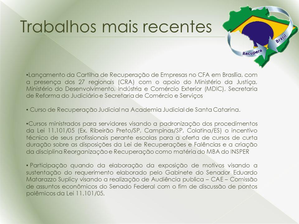 Lançamento da Cartilha de Recuperação de Empresas no CFA em Brasília, com a presença dos 27 regionais (CRA) com o apoio do Ministério da Justiça, Ministério do Desenvolvimento, Indústria e Comércio Exterior (MDIC), Secretaria de Reforma do Judiciário e Secretaria de Comércio e Serviços Curso de Recuperação Judicial na Academia Judicial de Santa Catarina.