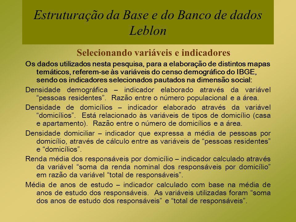 Estruturação da Base e do Banco de dados Leblon Selecionando variáveis e indicadores Os dados utilizados nesta pesquisa, para a elaboração de distinto