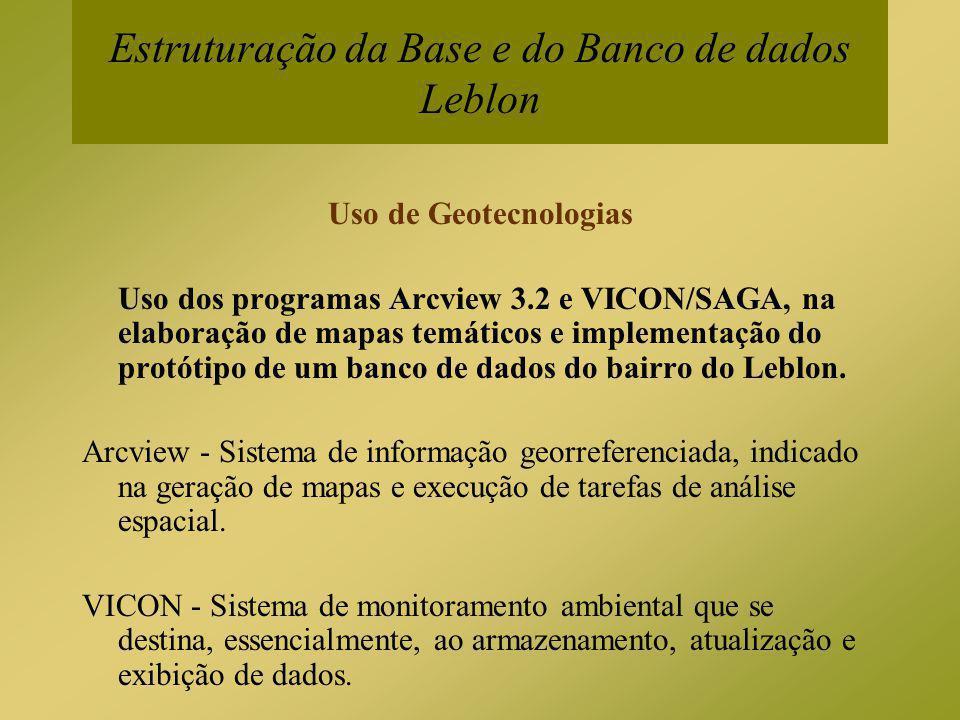 Estruturação da Base e do Banco de dados Leblon Uso de Geotecnologias Uso dos programas Arcview 3.2 e VICON/SAGA, na elaboração de mapas temáticos e i