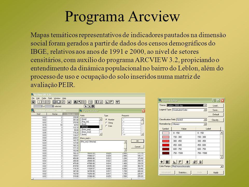 Programa Arcview Mapas temáticos representativos de indicadores pautados na dimensão social foram gerados a partir de dados dos censos demográficos do
