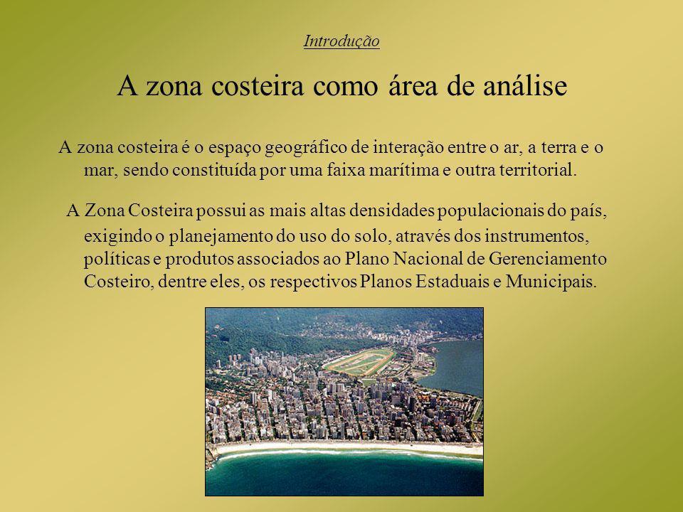 Introdução A zona costeira como área de análise A zona costeira é o espaço geográfico de interação entre o ar, a terra e o mar, sendo constituída por