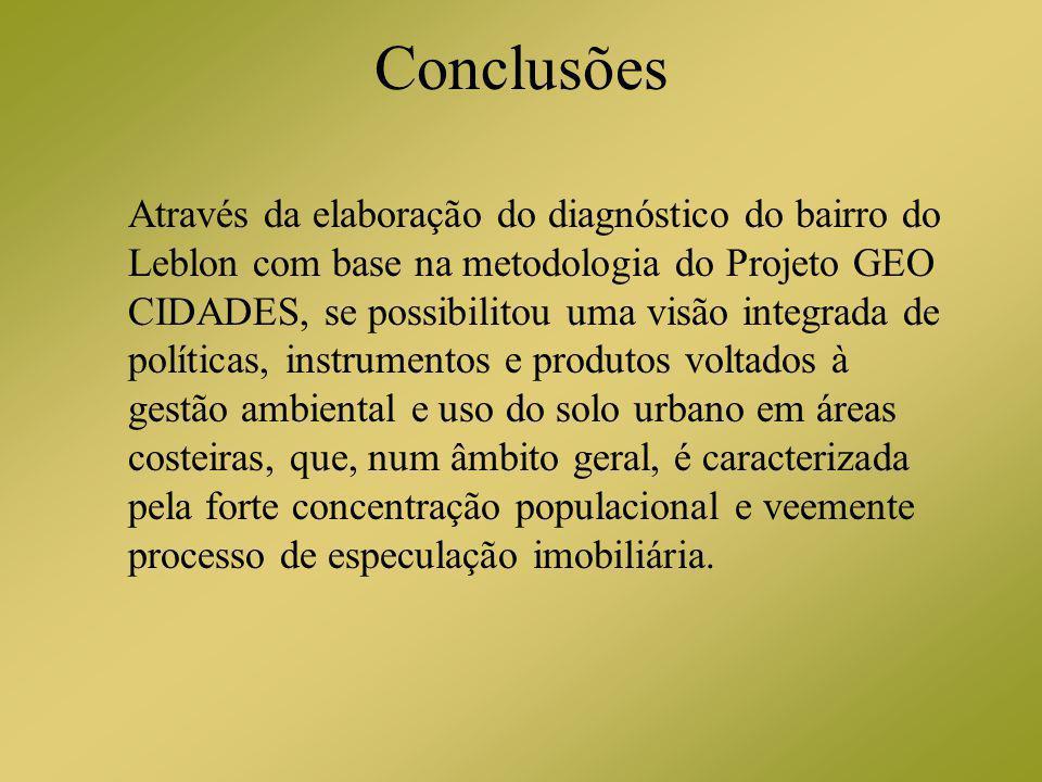 Conclusões Através da elaboração do diagnóstico do bairro do Leblon com base na metodologia do Projeto GEO CIDADES, se possibilitou uma visão integrad