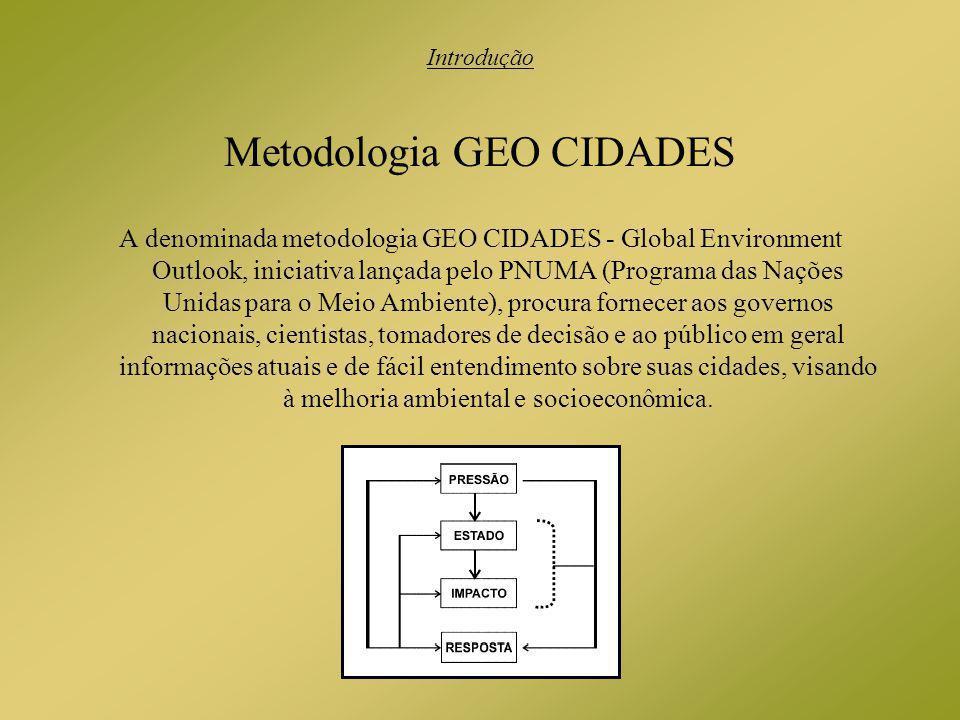 Metodologia GEO CIDADES A denominada metodologia GEO CIDADES - Global Environment Outlook, iniciativa lançada pelo PNUMA (Programa das Nações Unidas p
