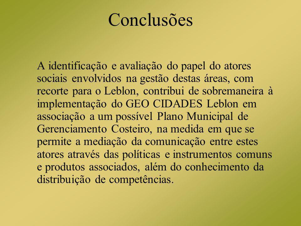 Conclusões A identificação e avaliação do papel do atores sociais envolvidos na gestão destas áreas, com recorte para o Leblon, contribui de sobremane