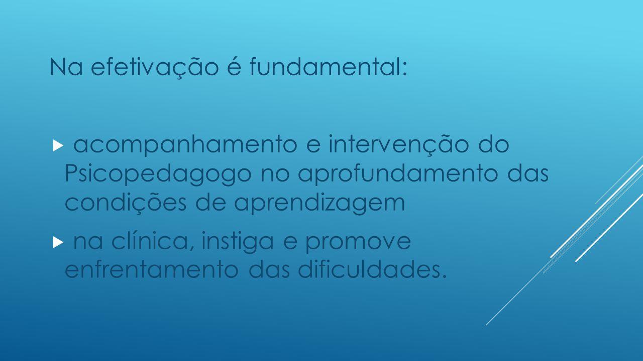 Na efetivação é fundamental:  acompanhamento e intervenção do Psicopedagogo no aprofundamento das condições de aprendizagem  na clínica, instiga e promove enfrentamento das dificuldades.