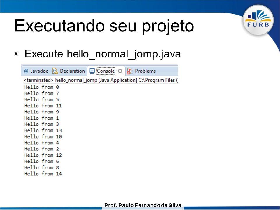 Prof. Paulo Fernando da Silva Executando seu projeto Execute hello_normal_jomp.java