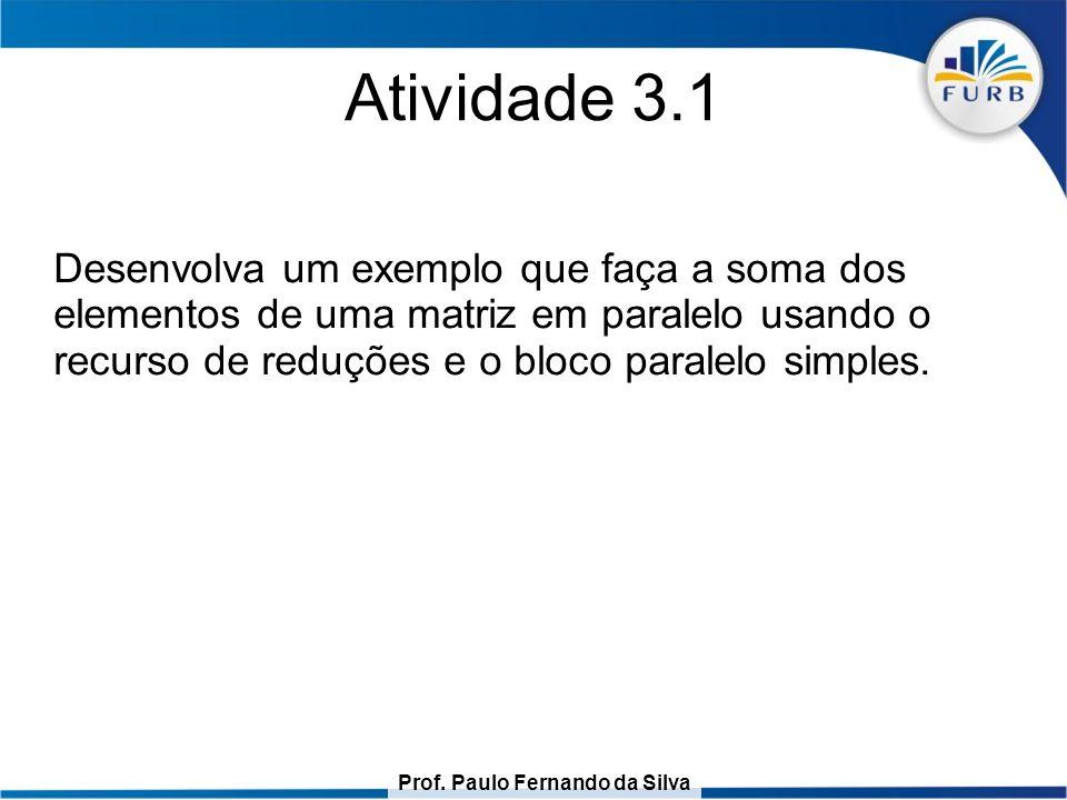 Prof. Paulo Fernando da Silva Atividade 3.1 Desenvolva um exemplo que faça a soma dos elementos de uma matriz em paralelo usando o recurso de reduções