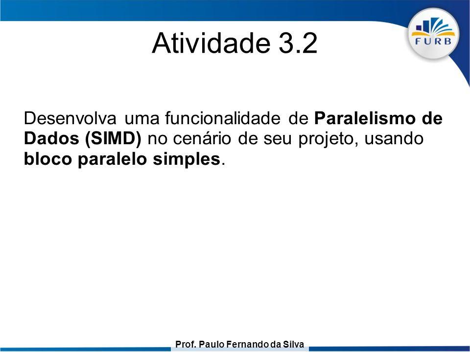 Prof. Paulo Fernando da Silva Atividade 3.2 Desenvolva uma funcionalidade de Paralelismo de Dados (SIMD) no cenário de seu projeto, usando bloco paral