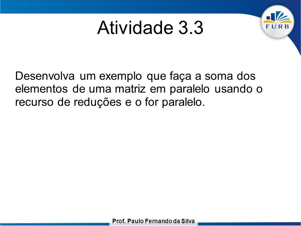 Prof. Paulo Fernando da Silva Atividade 3.3 Desenvolva um exemplo que faça a soma dos elementos de uma matriz em paralelo usando o recurso de reduções