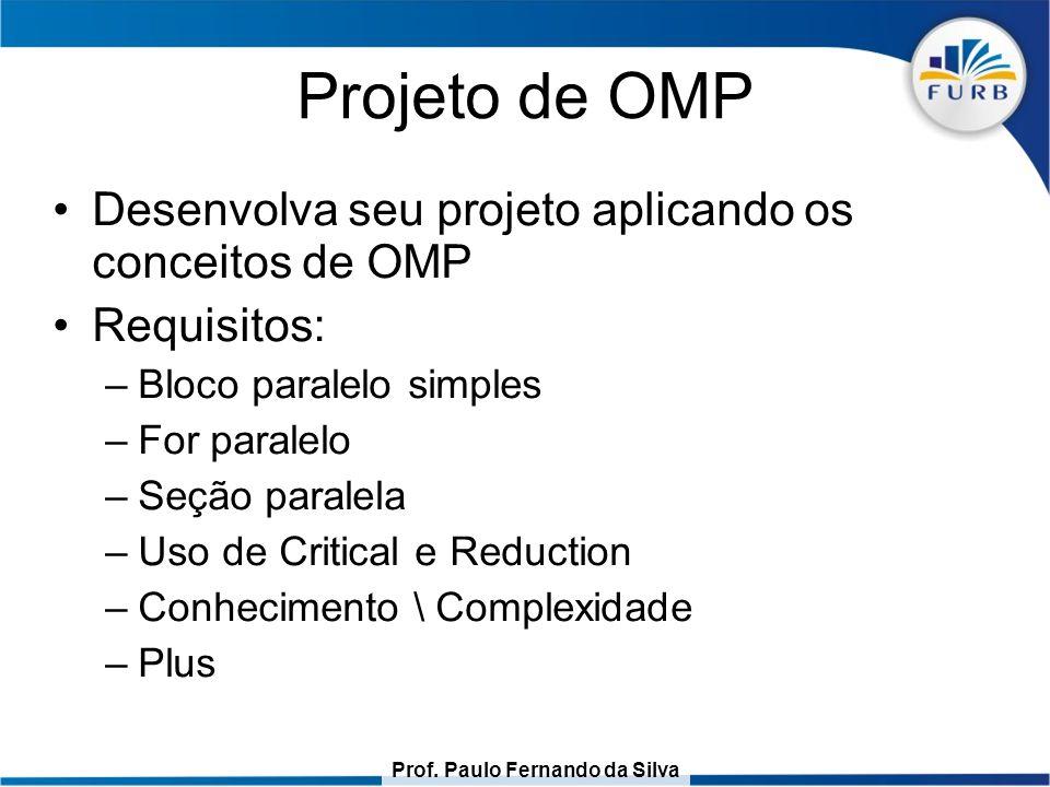 Prof. Paulo Fernando da Silva Projeto de OMP Desenvolva seu projeto aplicando os conceitos de OMP Requisitos: –Bloco paralelo simples –For paralelo –S