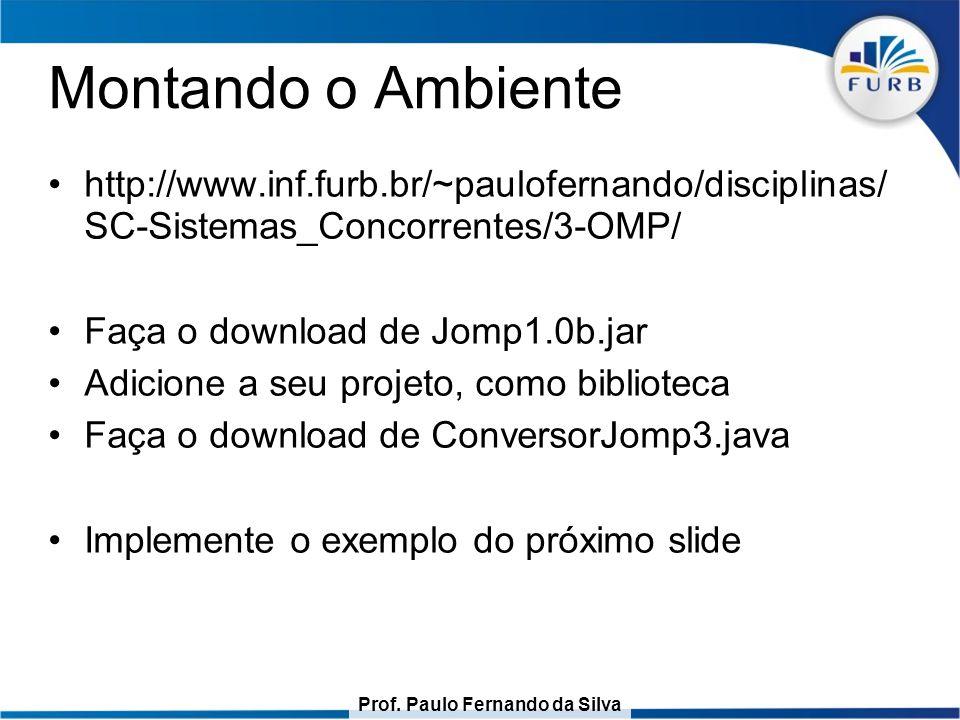 Prof. Paulo Fernando da Silva Montando o Ambiente http://www.inf.furb.br/~paulofernando/disciplinas/ SC-Sistemas_Concorrentes/3-OMP/ Faça o download d