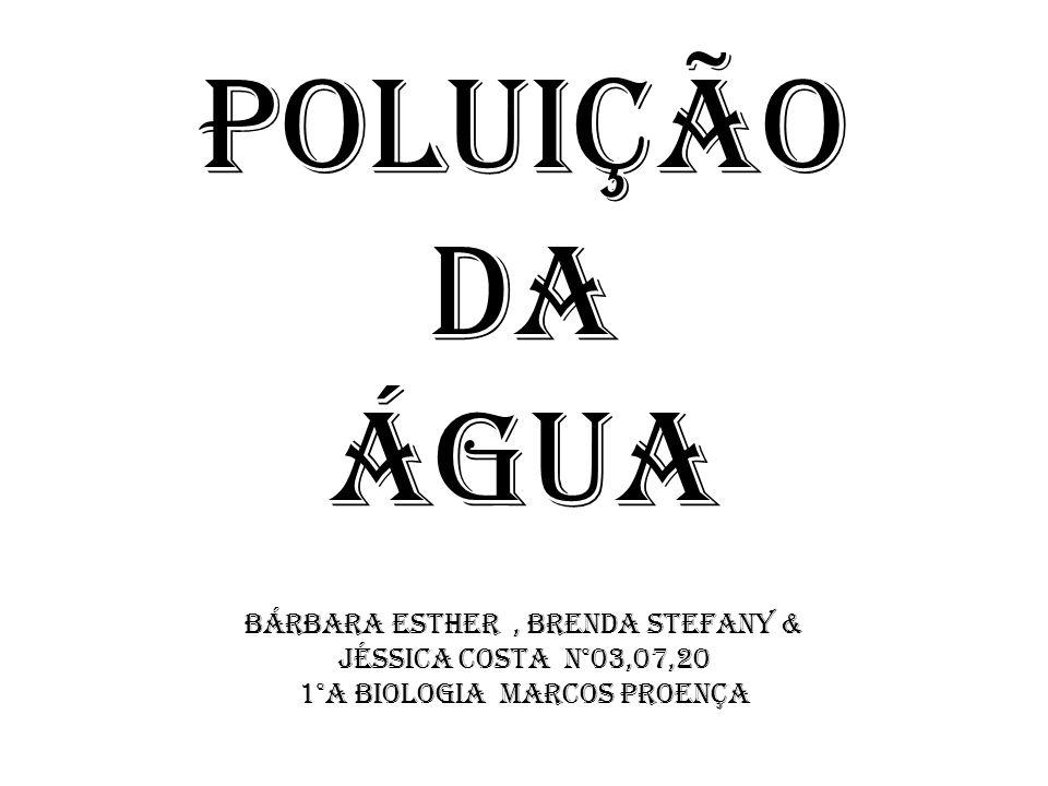 Poluição da Água Bárbara Esther, Brenda Stefany & Jéssica Costa n°03,07,20 1°A Biologia Marcos Proença
