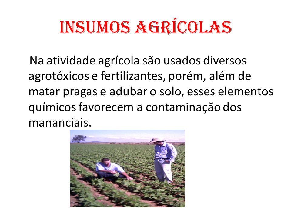 Insumos Agrícolas Na atividade agrícola são usados diversos agrotóxicos e fertilizantes, porém, além de matar pragas e adubar o solo, esses elementos